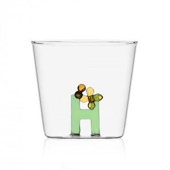 """Ichendorf Bicchiere in vetro tumbler con alfabeto fiorito lettera """"H"""" GreenWood Verde    09352167"""
