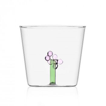 """Ichendorf Bicchiere in vetro tumbler con alfabeto fiorito lettera """"I"""" GreenWood Verde    09352168"""