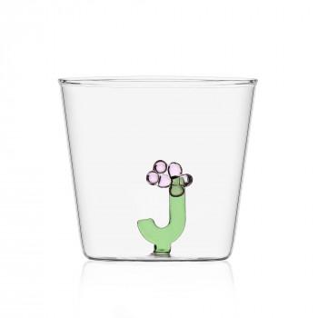"""Ichendorf Bicchiere in vetro tumbler con alfabeto fiorito lettera """"J"""" GreenWood Verde    09352169"""