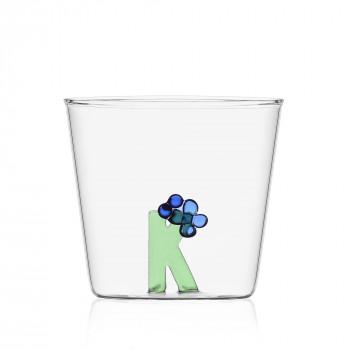 """Ichendorf Bicchiere in vetro tumbler con alfabeto fiorito lettera """"K"""" GreenWood Verde    09352170"""