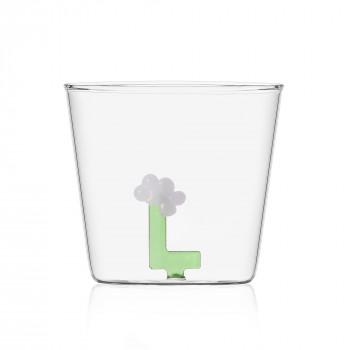"""Ichendorf Bicchiere in vetro tumbler con alfabeto fiorito lettera """"L"""" GreenWood Verde    09352171"""