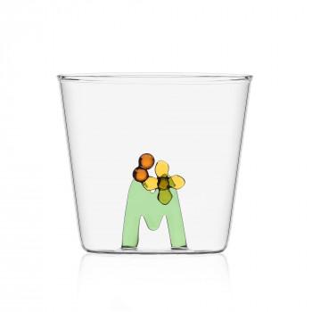 """Ichendorf Bicchiere in vetro tumbler con alfabeto fiorito lettera """"M"""" GreenWood Verde    09352172"""
