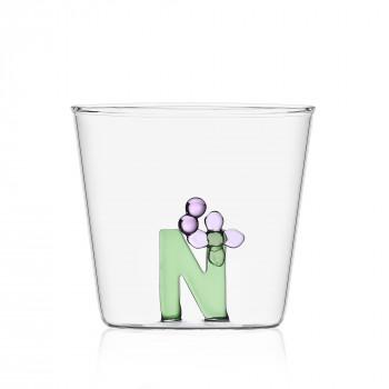 """Ichendorf Bicchiere in vetro tumbler con alfabeto fiorito lettera """"N"""" GreenWood Verde    09352173"""