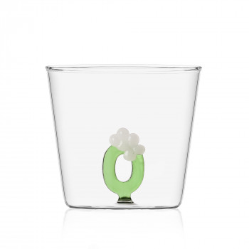 """Ichendorf Bicchiere in vetro tumbler con alfabeto fiorito lettera """"O"""" GreenWood Verde    09352174"""