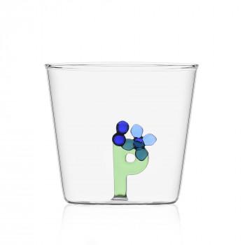 """Ichendorf Bicchiere in vetro tumbler con alfabeto fiorito lettera """"P"""" GreenWood Verde    09352175"""