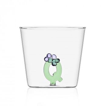 """Ichendorf Bicchiere in vetro tumbler con alfabeto fiorito lettera """"Q"""" GreenWood Verde    09352176"""