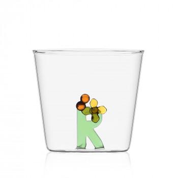 """Ichendorf Bicchiere in vetro tumbler con alfabeto fiorito lettera """"R"""" GreenWood Verde    09352177"""