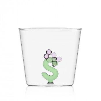 """Ichendorf Bicchiere in vetro tumbler con alfabeto fiorito lettera """"S"""" GreenWood Verde    09352178"""