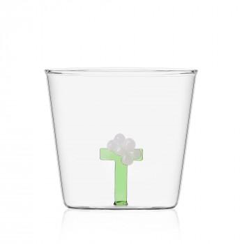 """Ichendorf Bicchiere in vetro tumbler con alfabeto fiorito lettera """"T"""" GreenWood Verde    09352179"""