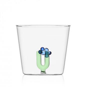 """Ichendorf Bicchiere in vetro tumbler con alfabeto fiorito lettera """"U"""" GreenWood Verde    09352180"""