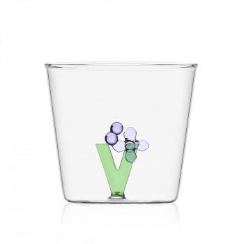 """Ichendorf Bicchiere in vetro tumbler con alfabeto fiorito lettera """"V"""" GreenWood Verde    09352181"""