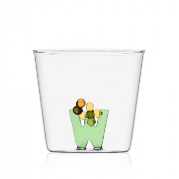 """Ichendorf Bicchiere in vetro tumbler con alfabeto fiorito lettera """"W"""" GreenWood Verde    09352182"""