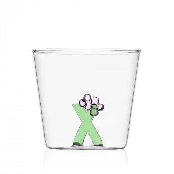 """Ichendorf Bicchiere in vetro tumbler con alfabeto fiorito lettera """"X"""" GreenWood Verde    09352183"""