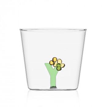"""Ichendorf Bicchiere in vetro tumbler con alfabeto fiorito lettera """"Y"""" GreenWood Verde    09352184"""