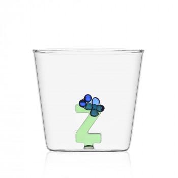 """Ichendorf Bicchiere in vetro tumbler con alfabeto fiorito lettera """"Z"""" GreenWood Verde    09352185"""