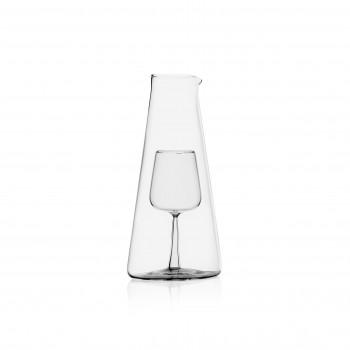 Ichendorf Caraffa in vetro per vino piccola con decorazione calice all'interno InBottiglia Trasparente    093598427