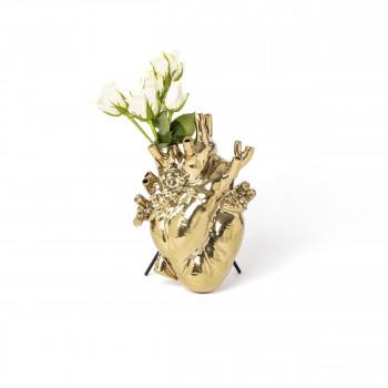 """Seletti Vaso in porcellana a forma di cuore """"Love in Bloood-Gold"""""""