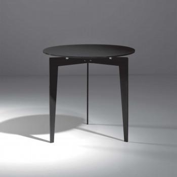 Pezzani Tavolino da salotto moderno piccolo in acciaio sabbiato e ripiano in vetro Nordic