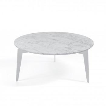 Pezzani Tavolino da salotto ovale grande con ripiano in marmo Nordic