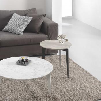 Pezzani Tavolino da salotto piccolo in acciaio sabbiato e ripiano in marmo Nordic     0/221.M