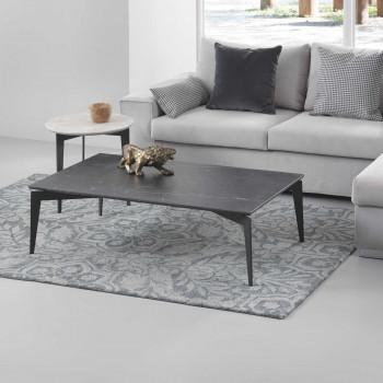 Pezzani Tavolino da salotto rettangolare in acciaio e ripiano in marmo Nordic     0/224.M