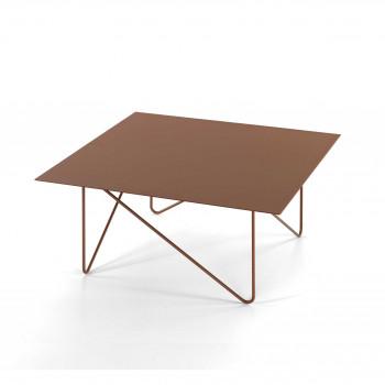 Pezzani Tavolino da salotto quadrato grande in acciaio sabbiato Shape