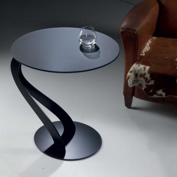 """Pezzani Tavolino da salotto con top in vetro e struttura in acciaio """"Swan"""""""