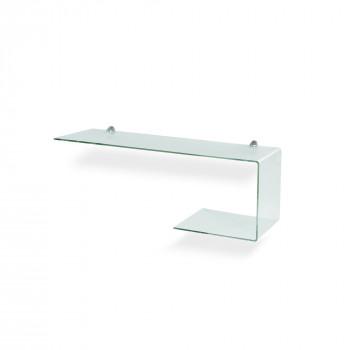 """Pezzani Mensola in vetro moderna sagomata """"DUE & FLEXI system""""  Trasparente    0/560#AL-T"""