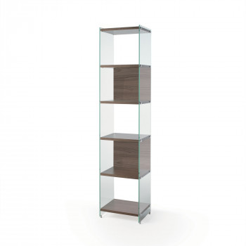 Pezzani Libreria componibile moderna fianchi in vetro temperato e ripiani in legno Byblos     0/70A-45