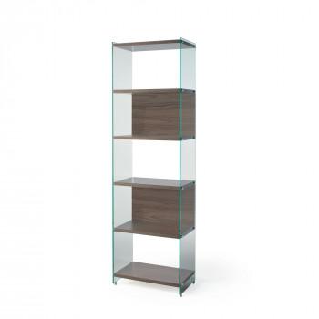 Pezzani Libreria componibile moderna con ripiani in legno e fianchi in vetro temperato Byblos     0/70A-60