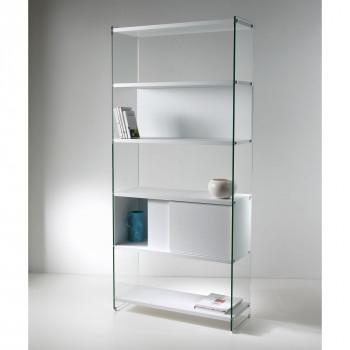 Pezzani Libreria moderna componibile con fianchi in vetro e ripiano in legno scorrevole Byblos     0/70A-90.SC1