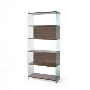 Pezzani Libreria moderna componibile con fianchi in vetro temperato e ripiani in legno Byblos     0/70A-90