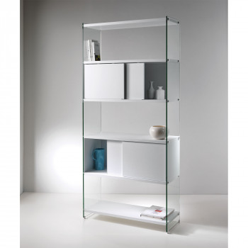 Pezzani Libreria moderna componibile con fianchi in vetro e ripiani in legno scorrevole Byblos     0/70A-90.SC2