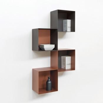 Pezzani Libreria da parete verticale piccola a cubi grandi con struttura componibile Twin     0/77.COMP-1