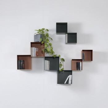 Pezzani Libreria da parete componibile con struttura a cubi misti in acciaio Twin     0/77+0/76.CO-6