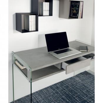 Pezzani Scrivania con ante in vetro e piano in legno con cassetto centrale Space     0/82.S
