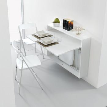 Pezzani Scrivania da parete salvaspazio con Set 3pz sedie Zeta inserite internamente Bureau     0/87.COMP-1