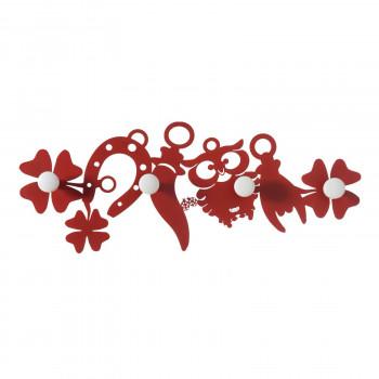 Arti e Mestieri Ganci da parete in metallo moderno con cornetti, gufi e quadrifogli Good Luck     3594