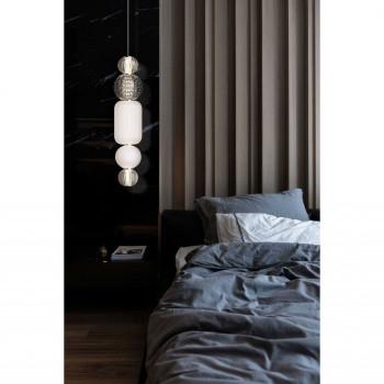 Maytoni Lampada a sospensione a LED dal design elegante con 5 diffusori sfere in vetro Collar Cromato Lumen 160 3000k Luce Calda  P069PL-L35CH3K