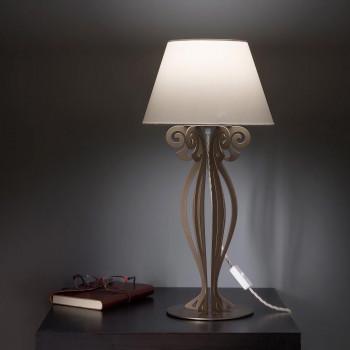 Arti e Mestieri Lampada da comodino in stile moderno in metallo e paralume in tessuto con PVC Circeo     3511