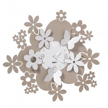 Arti e Mestieri Orologio da parete con motivo fiorito e con lancette in metallo Daisy