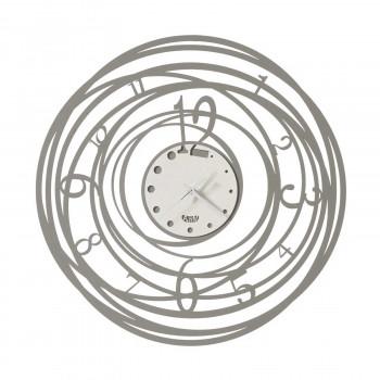 Arti e Mestieri Orologio da parete rotondo piccolo in metallo dalle linee moderne Ghirigoro     3602