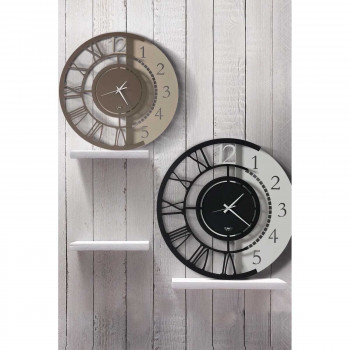 Arti e Mestieri Orologio da parete grande doppia numerazione in metallo dalle linee moderne Full Metal Jack     3625