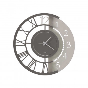 Arti e Mestieri Orologio da parete piccolo doppia numerazione in metallo dalle linee moderne Full Metal Jack     3655