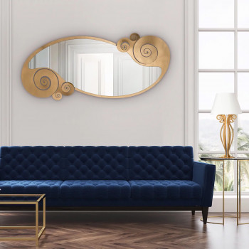 Arti e Mestieri Specchio da terra in ferro con riccioli in stile moderno Circeo     3367