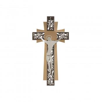 Arti e Mestieri Crocifisso piccolo da parete in metallo decorazioni dalle linee contemporanee      3658