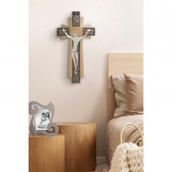 Arti e Mestieri Crocifisso grande da parete in metallo con decorazioni dalle linee contemporanee      3659