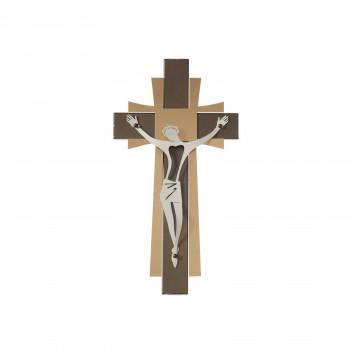 Arti e Mestieri Crocifisso piccolo da parete in metallo dalle linee contemporanee      3670