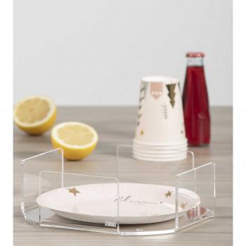 Vesta Portapiatti orizzontale in plexiglass moderno per piatti di plastica o carta Like Water     12604