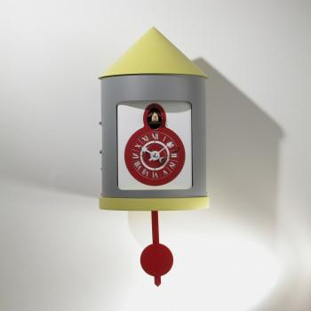 """Progetti Orologio da parete a cucù con pendolo """"Silos""""  Grigio/Giallo"""